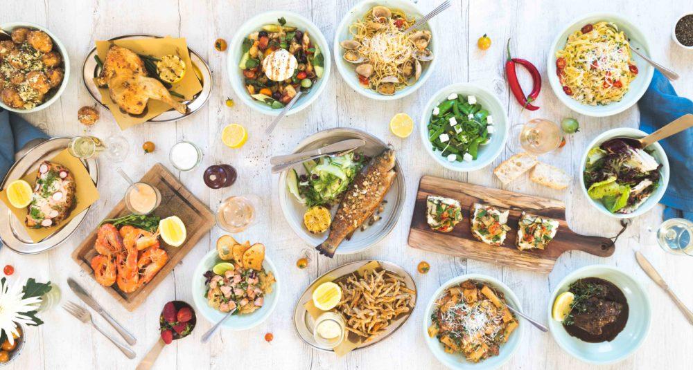 Overhead shot of Beach Club dishes