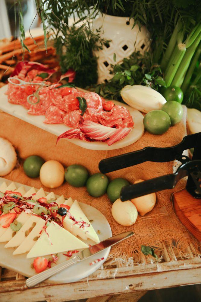 Close up photo of cheese and salumi board