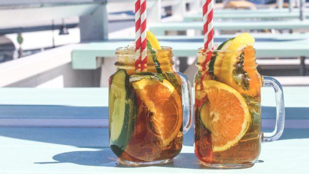 Classic Pimms in mason jars at Beach Club