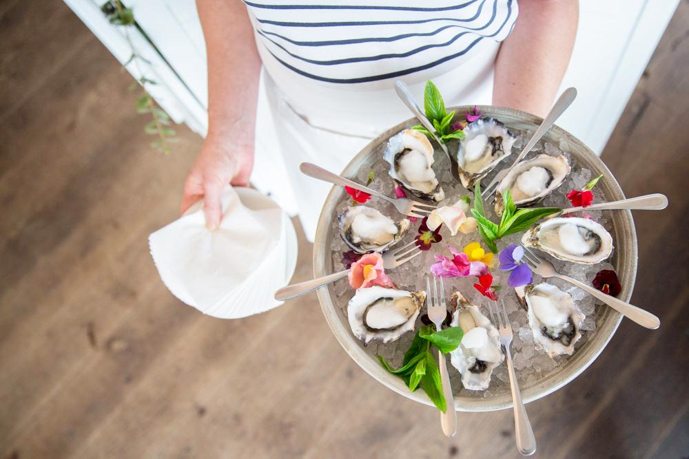 Oyster platter being served