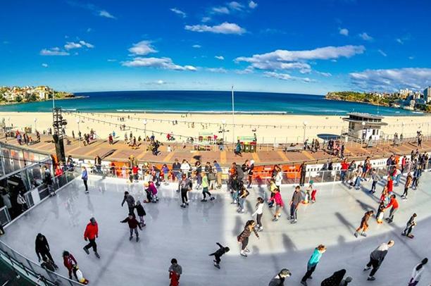 Photo of ice rink on bondi beach as part of the bondi winter magic festival