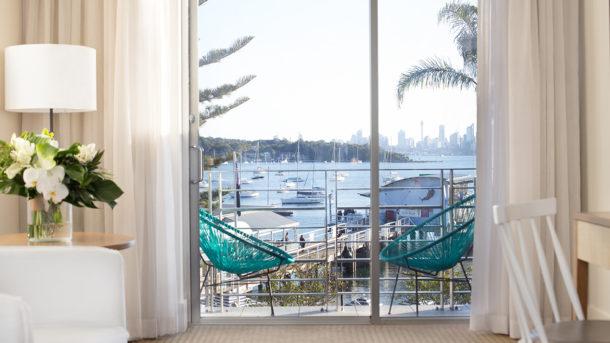 Hotel room overlooking the harbour