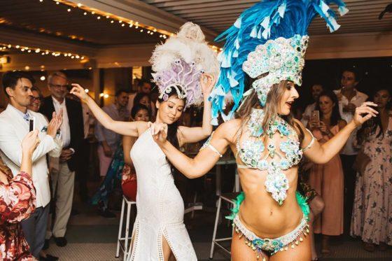 Valery (bride) dancing in Top Deck with samba dancer