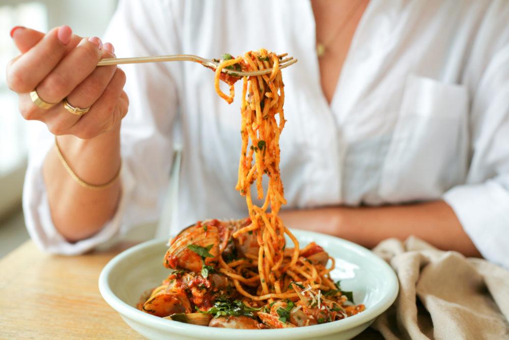 a seafood, neapolitana sauce pasta at watsons bay