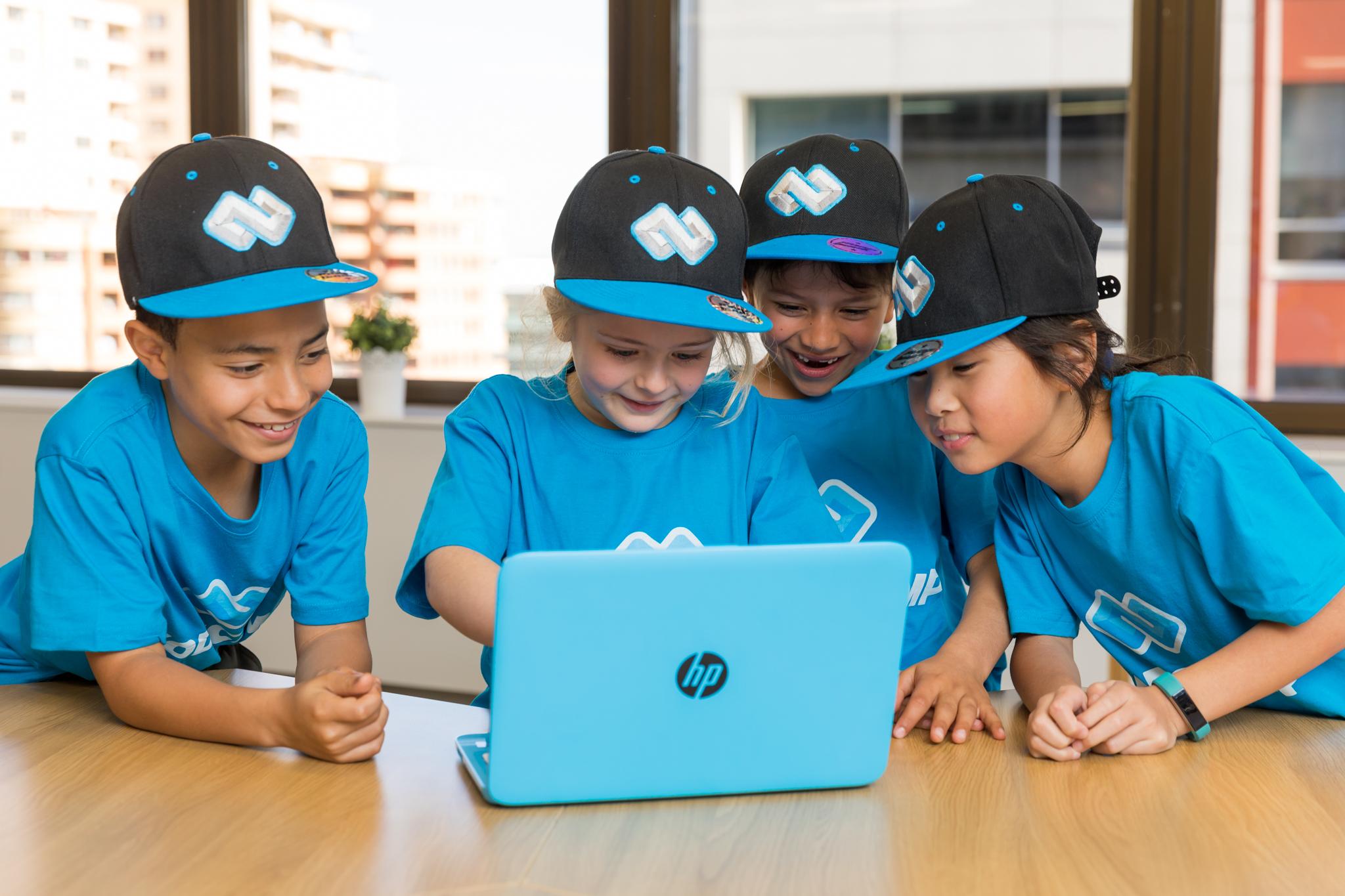 group of kids at code camp