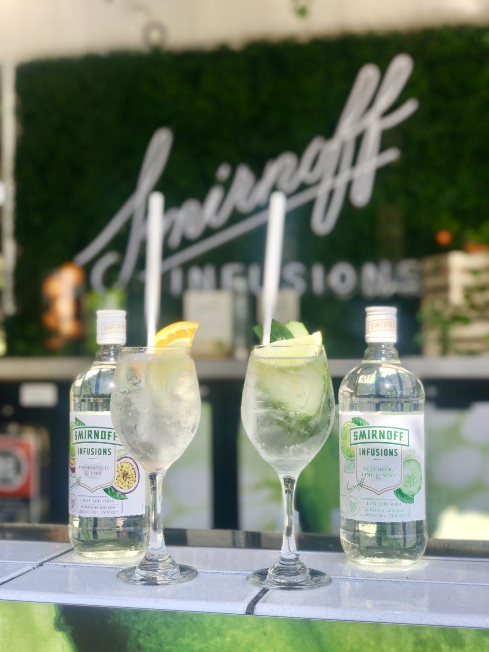 Smirnoff Infusion Cocktails Sitting on bar