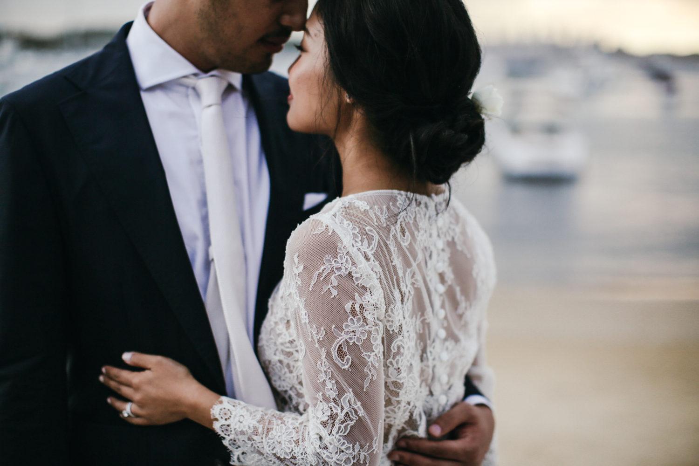 bride and groom wedding photo at watsons bay