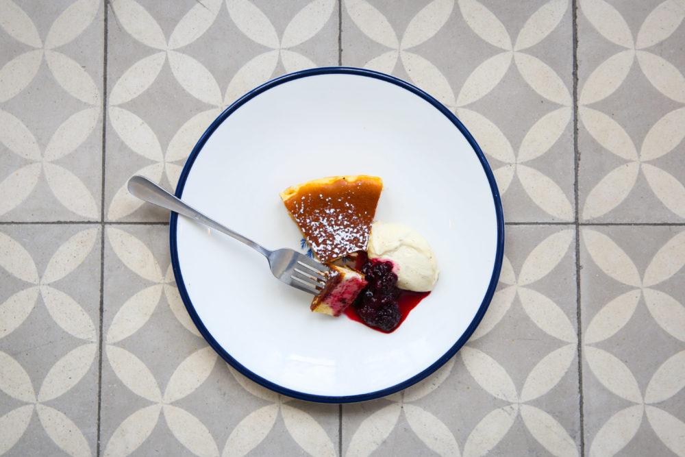 Raspberry Cheesecake Served with Vanilla Bean Icecream