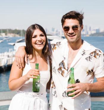 girl and guy enjoying Heineken