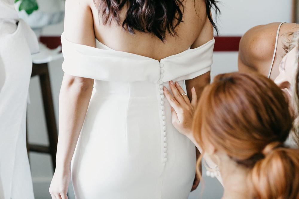 Jessica in her wedding dress