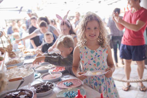 kids getting their free pancakes